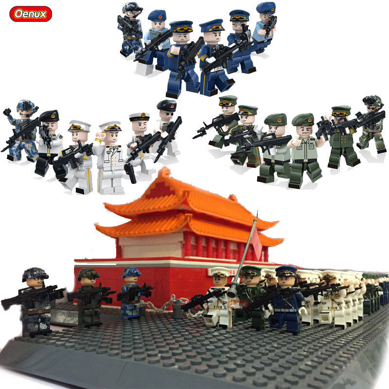Oenux New The Armed Forces Navy Land Force Air Force Military Army Soldiers Building Blocks Set Military Weapons Model Brick Toy ancient knight 28pcs set soldiers and horses medieval model toy soldiers figures