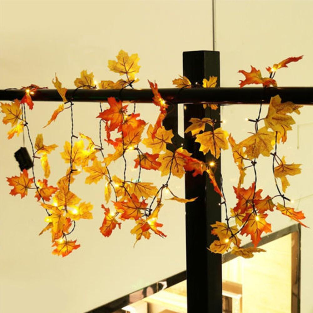 LumiParty 1.65m 10 LED Lighted Maple Leaf Fall Leaves Garland Lights ...