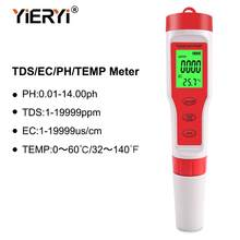 2019 New TDS PH Meter PH/TDS/EC/Temperature Meter Digital Water Quality Monitor Tester for Pools, Drinking Water, Aquariums(China)