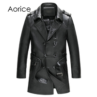 Aorice 170708 2017 Winter Men S Leather Trim And Long Trench Coat