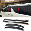 Stylingg Toldos Abrigos 4 pçs/lote Viseiras Da Janela do carro Para Toyota Alphard 2010-2016 Sol Chuva Escudo Adesivos Covers