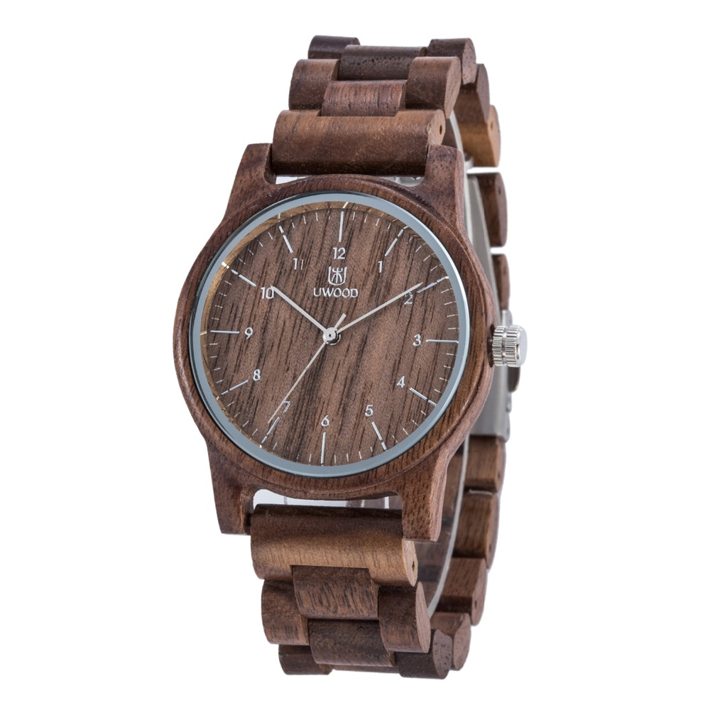 Uwood UW W3037 Luxury Brand Wood Watch Men Analog Quartz Movement Fashion Male Wooden Wristwatches Relogio