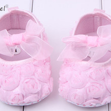 Pink Lace Bowknot Baby Girl Shoes Toddler Prewalker Anti-Sli