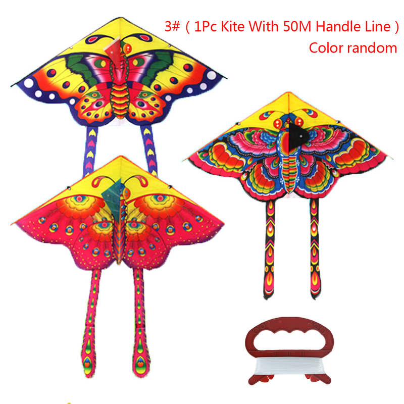 New Colorful Outdoor Sports Butterfly Flying Kite With Winder Board String Children Kids Play Game Toy 90*50CM