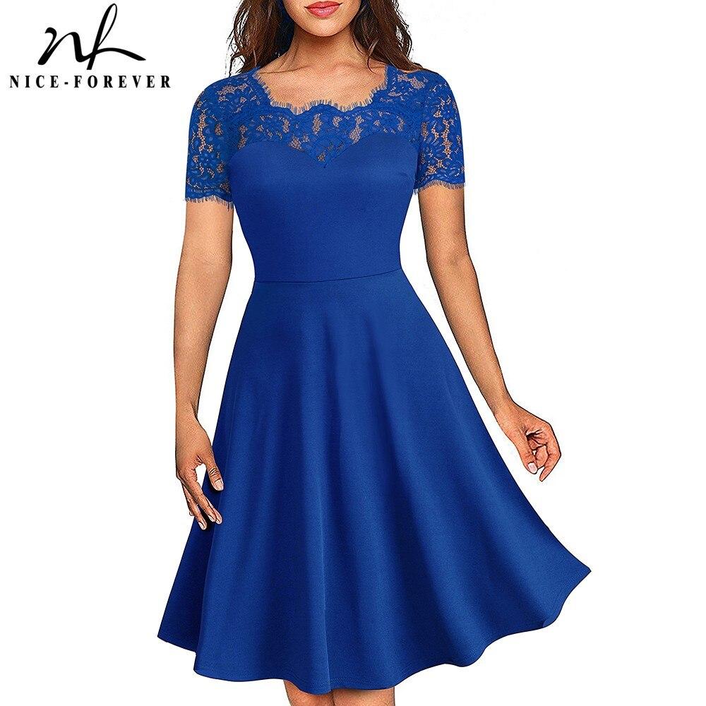 Nice-forever Vintage Elegant Floral Lace Neckline Pinup vestidos ALine Business Party Flar