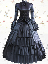Women Adult Medieval Renaissance Victorian Dress Costume Halloween Party Gothic Lolita Cosplay Black Dress