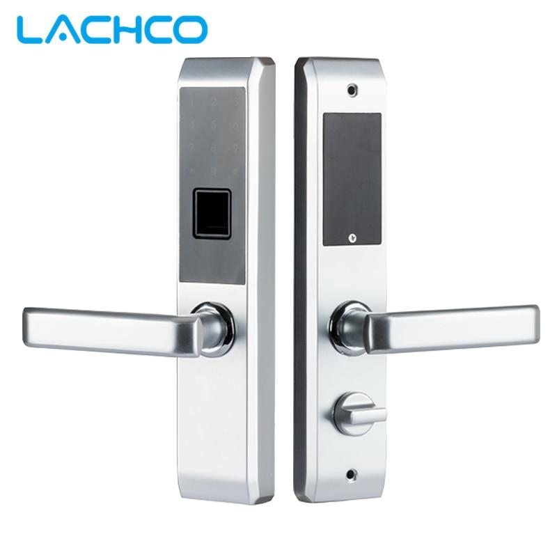Lachco biométrico eletrônico fechadura da porta inteligente impressão digital, código, cartão, chave de tela sensível ao toque bloqueio senha digital para casa l18008f
