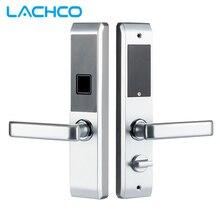 LACHCO biometryczny elektroniczny zamek do drzwi inteligentny linii papilarnych, kod, karty, klucz dotykowy ekran cyfrowy blokada hasła dla domu L18008F