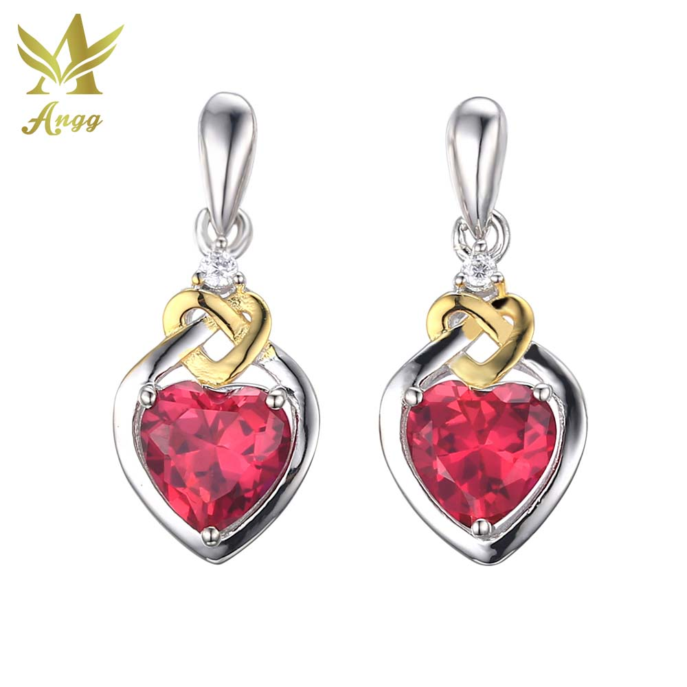 Angg Classical Heart Cuts Earrings 925 Sterling Silver Jewelry Red Wedding  & Engagement Stud Earrings For