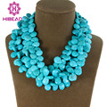 Gorgeous Natural Turquoise Strands Necklace Charms 3 Rows Turquoise Beaded Cluster Party Necklace Jewelry Free Shipping ALJ619