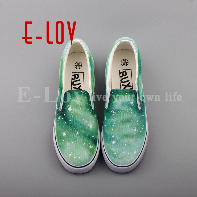 E-LOV New Arrival Hand Drawing Starry Sky Casual Slip On Shoes Women Girls Dream Graffiti Galaxy Stars Flat Loafers e lov hand painted graffiti horoscope canvas shoes custom luminous graffiti gemini casual flat shoes women zapatillas mujer