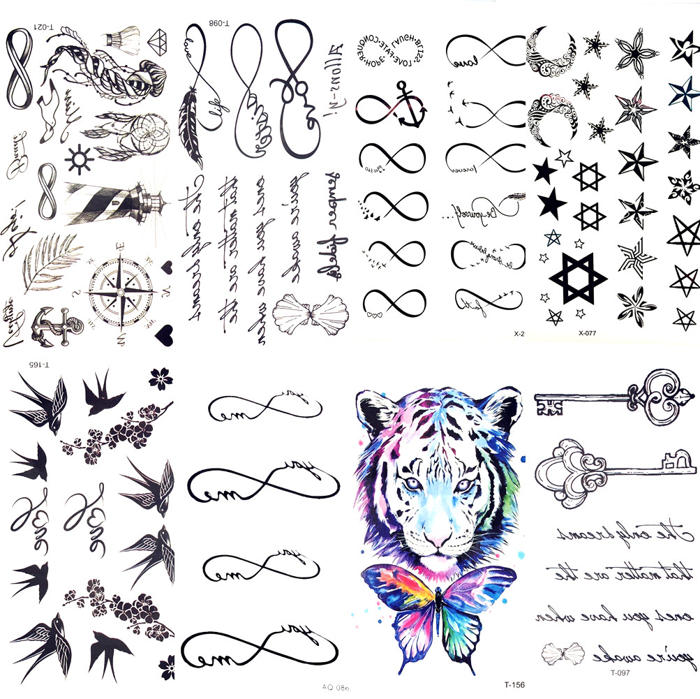 Black Infinity Words Compass Temporary Tattoo Sticker Women Body Finger Art Waterproof Tattoo Children Arm Tatoo Kids