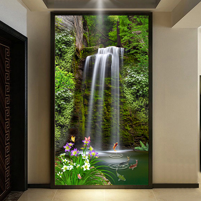 Custom 3D Room Wallpaper For Walls Waterfall Landscape Entrance Hall Aisle Background Wall Painting 3D Embossed Mural Wallpaper