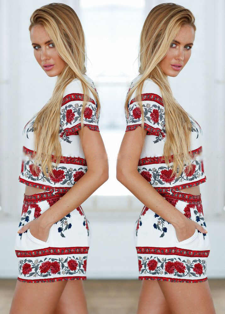 Элегантный комбинезон костюм из двух предметов Boho Цветочный принт Playsuit Для женщин Летний Стиль Общая Повседневное Пляж Купальник тела Femme