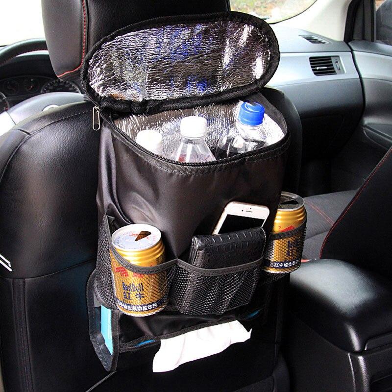 Car Seat Back Hanging Organizer Insulation Multi- Pocket Travel Storage Cooler Bag Heat-Preservation Insulated with Mesh Pockets
