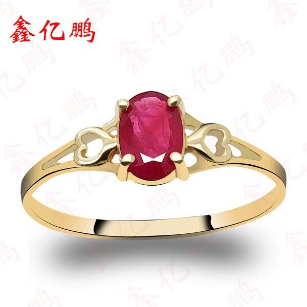Women 18 k gold inlaid natural ruby ring Fashion luxury 4x6mm