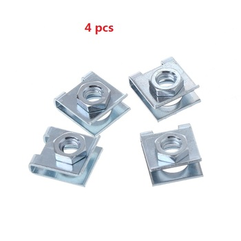 4 Pcs Car License Plate Fastener Buckle Metal Screw Nut U-Type Clips Retainer 6mm image