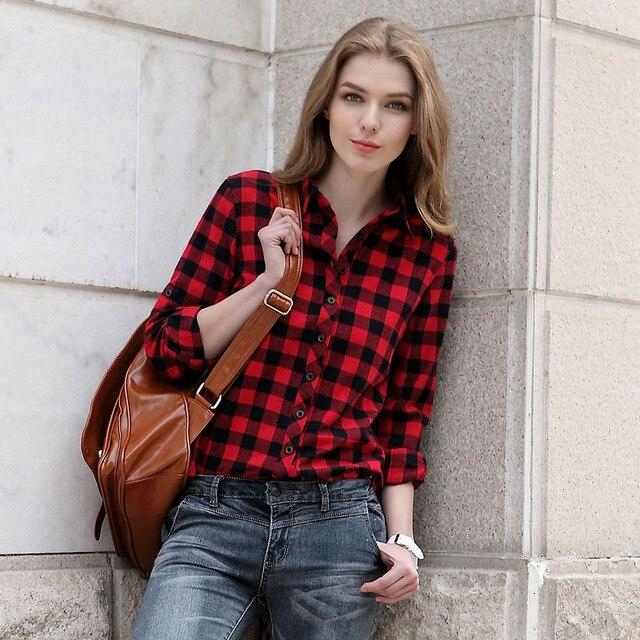 Black and red plaid shirt women for Lightweight plaid shirt womens