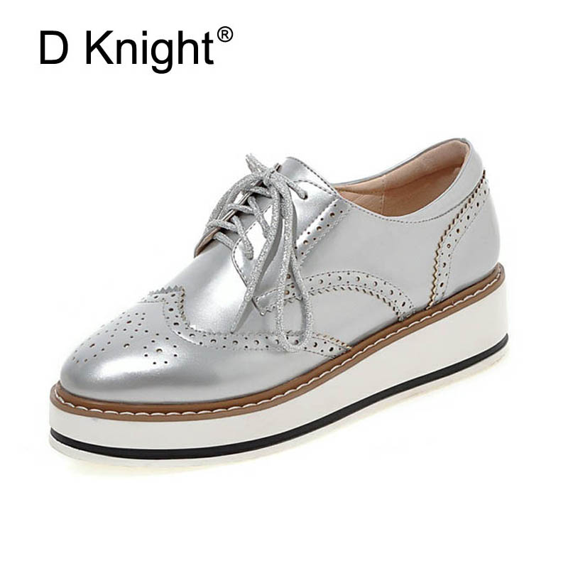 Women Brogue Oxfords Ladies Casual Platform Wedges Heel Shoes Woman Patent Leather Oxford Shoes For Women Black Red Silver White fashion patent leather oxfords shoes woman 2016 casual platform flats low heels silver women brogue shoes 2 wearing xwd3170