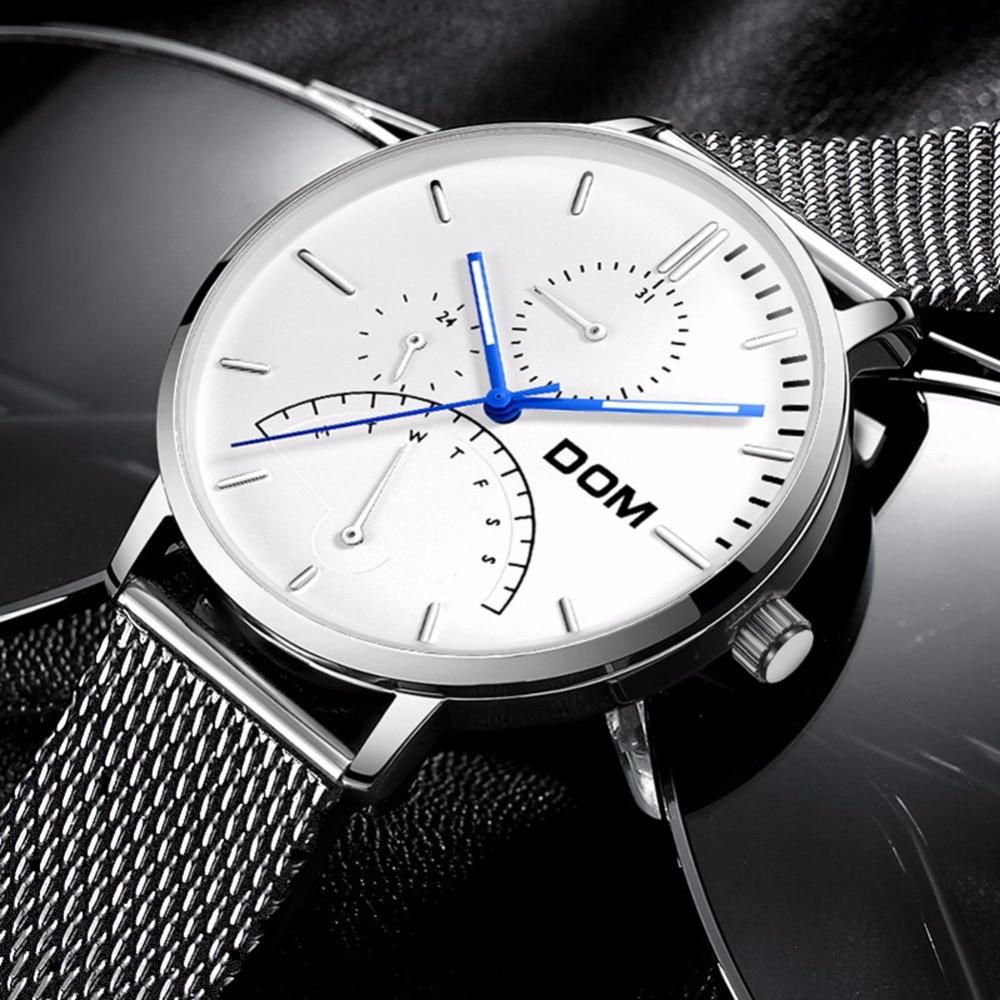 DOM Men Watches Luxury Brand Multi Function Mens Sport Quartz Watch  Waterproof Mesh belt Business Clock  Wrist Watch M-511D-7M