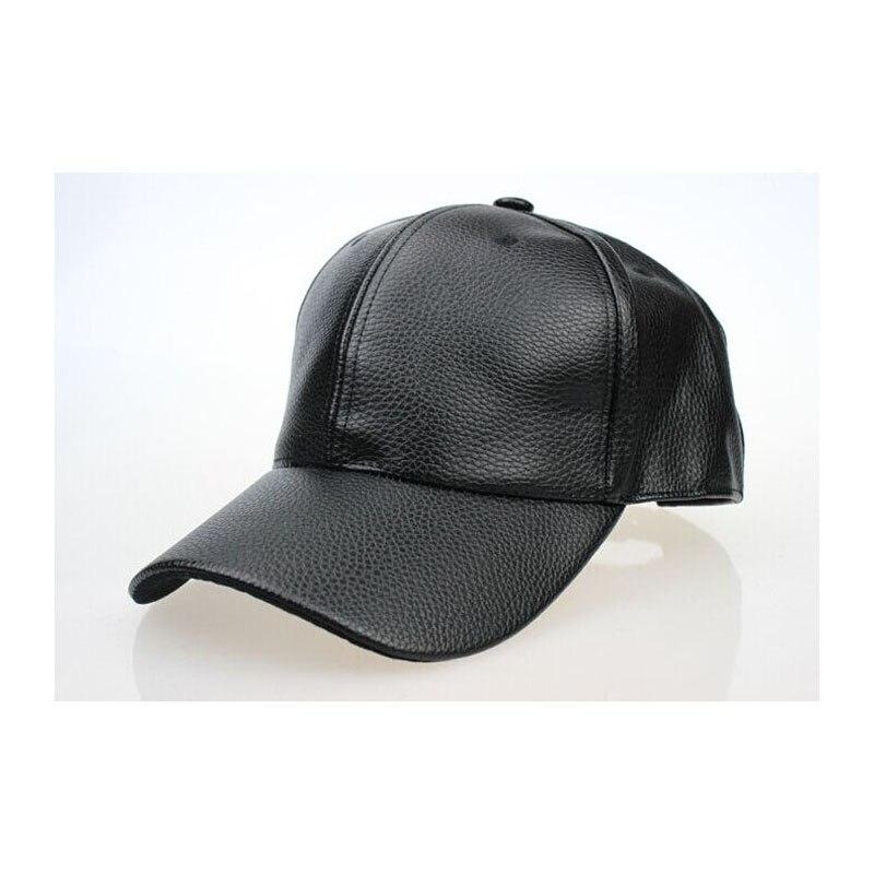 Alta calidad otoño invierno los hombres de cuero del sombrero del casquillo  del snapback del sombrero gorra de béisbol de los hombres al por mayor de  2018 ... 9645ca9760d