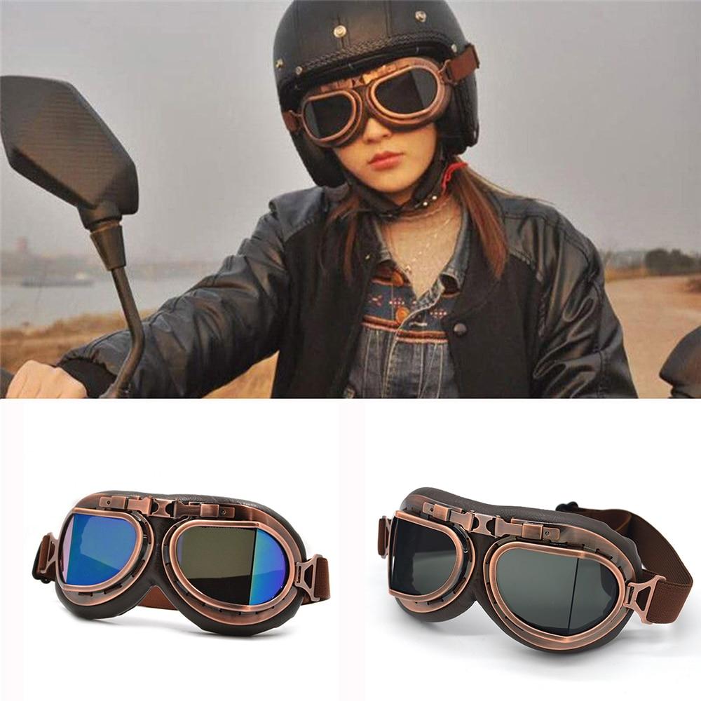 Motorcycle Goggles Glasses Motorbike Pilot Steampunk Vintage ATV Biker Scooter Cruiser Jet Helmet Cycling Ski Retro Sunglasses