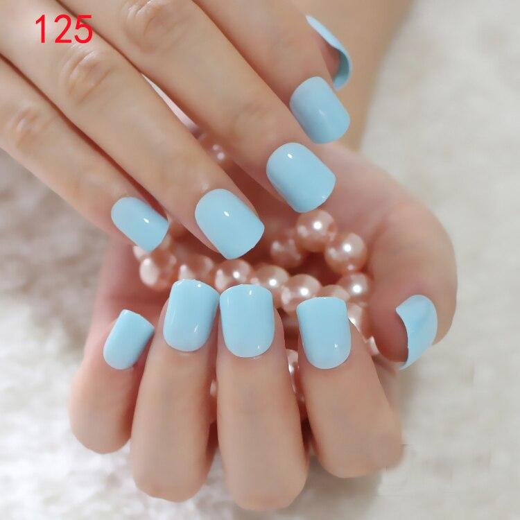Pretty Candy Color False Nail Tips Sky Blue Fake Nails Plastic Nails ...