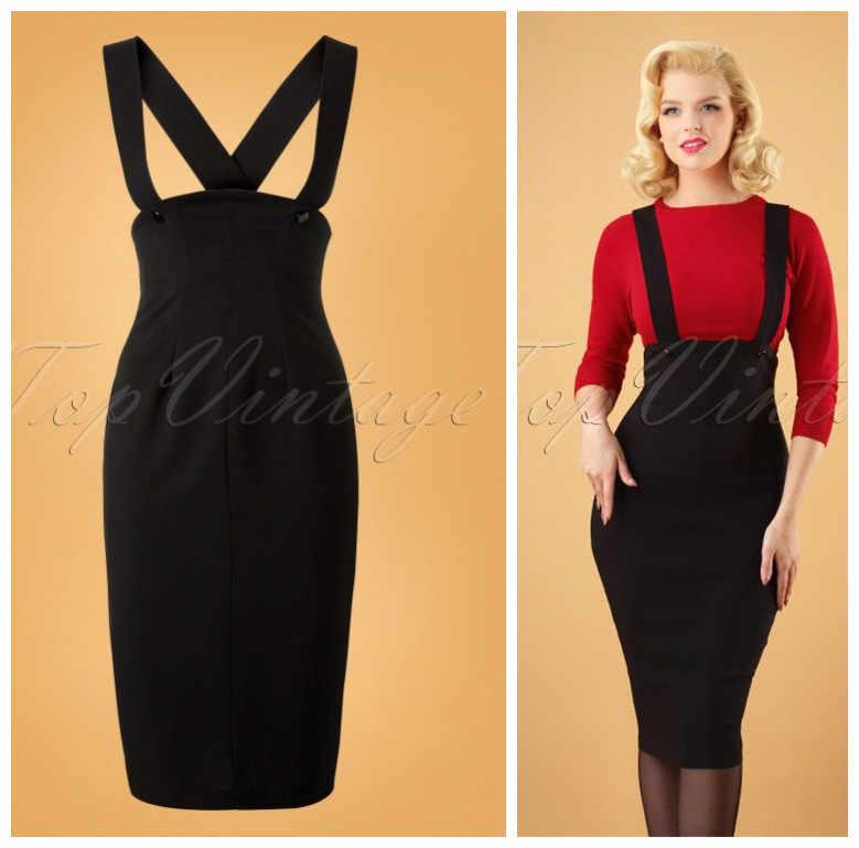 30- vintage 50s Audrey hepburn high waist wiggle pencil jumper skirt in  black braces bandage e8026637f7eb