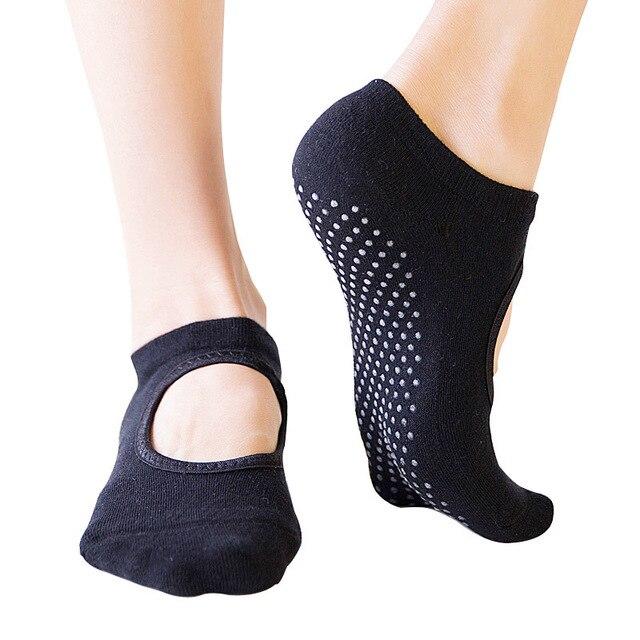 Oddychające kobiety joga skarpetki antypoślizgowe pięć palców Backless silikonowe antypoślizgowe 5 skarpety Toe balet siłownia Fitness sport bawełniane skarpety