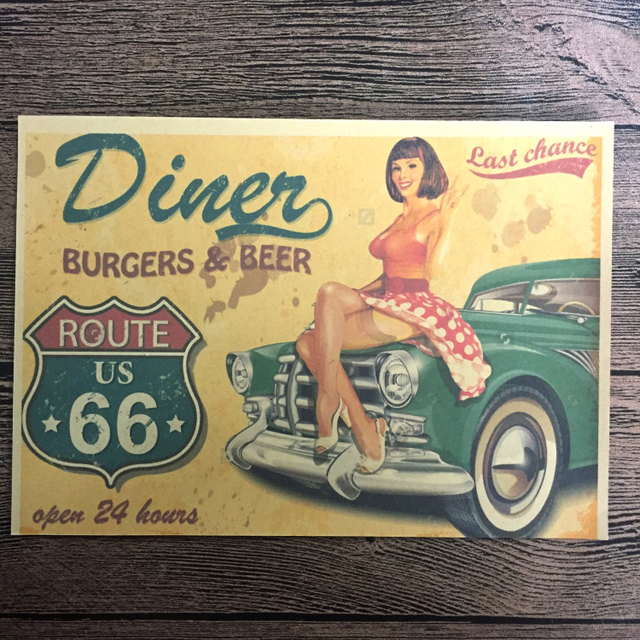 Free ship Vintage Route 66 Gas Car Old Poster Retro Wall Art Crafts ...