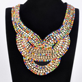 Fashion Lady Bohemia Black Ribbon Colorful Jewelry Chain Handmade Resin Seed Beads Choker Statement Necklace