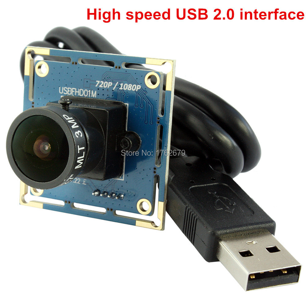 170 degree fisheye lens 1920 x 1080 2.0 megapixel USB Industrial Webcam wide angle camera module