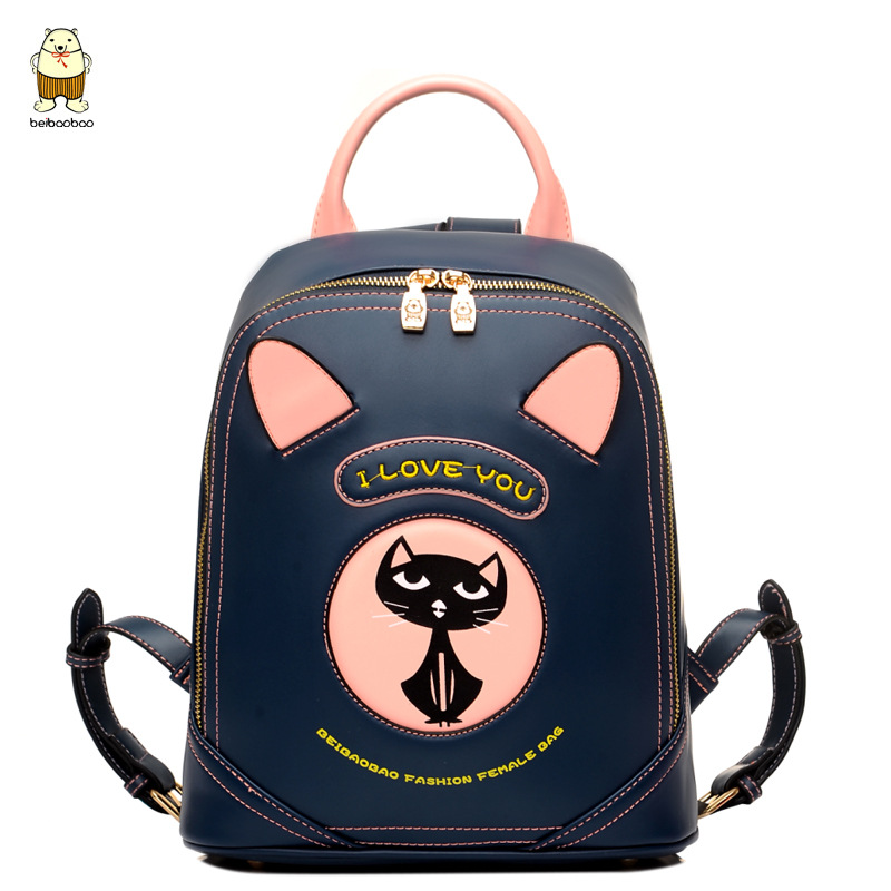 ФОТО Women Cartoon Leather Backpacks Cute Cat Decoration for School Students Travel Bags Korean Version Fashion Famous Brand Style