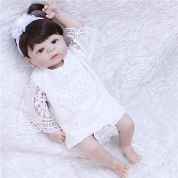 55cm Full Silicone Body Reborn Girl Baby real dolls Lifelike Vinyl Princess Toddler Doll Birthday Gift Present Girl Brinquedos