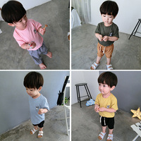 Baby INS Hot Sale Blouses T Shirts Kids Summer Embroidery Animal Cartoon Tees Pure Color Slub