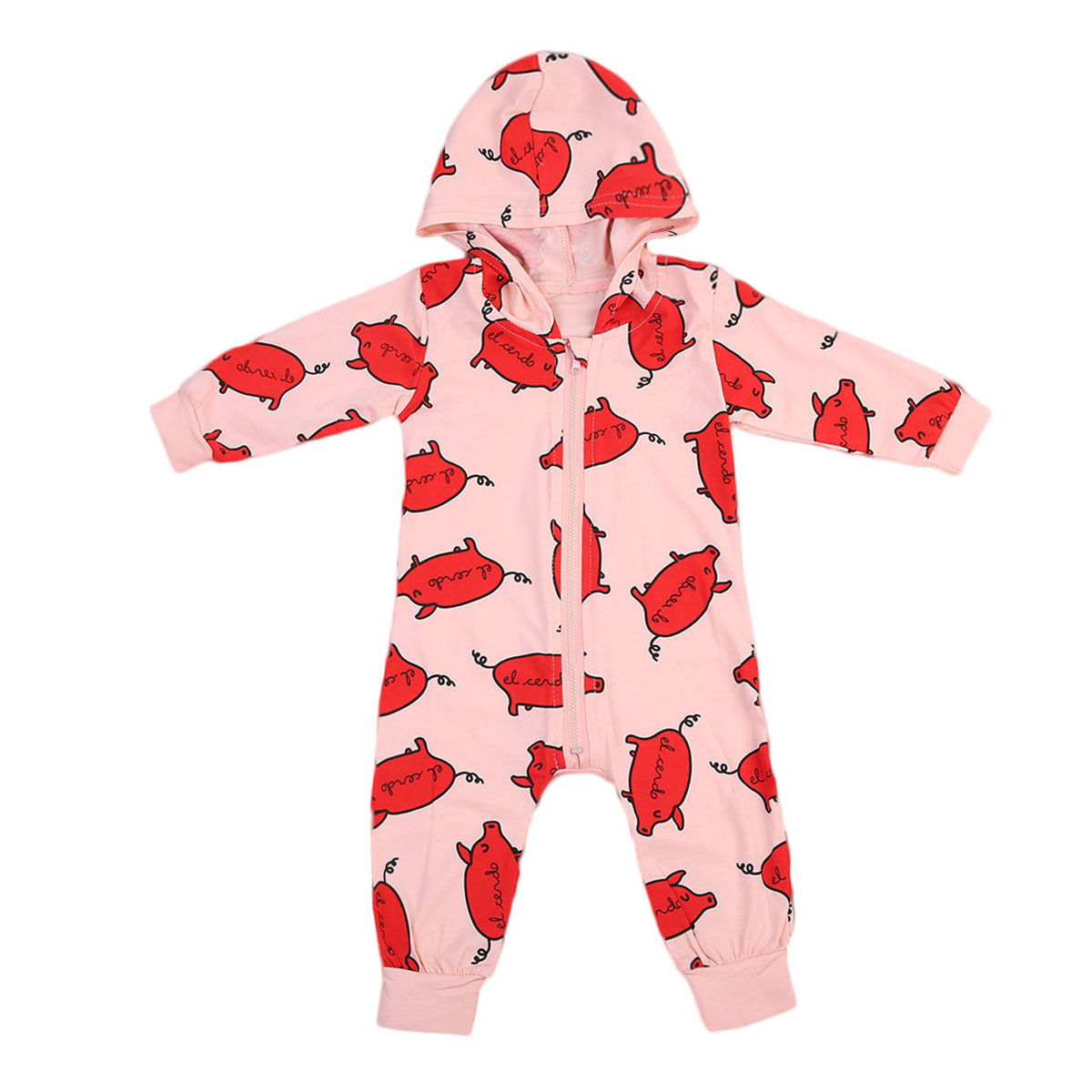 Summer Newborn Baby Clothes Unisex Cotton Zipper Pig Hooded Rompers Girls Boys Clothing Outfits Pink baby boys girls clothes newborn bebe rompers costume short sleeve ropa de bebe 100%cotton clothing 5pcs lot unisex 0 9months