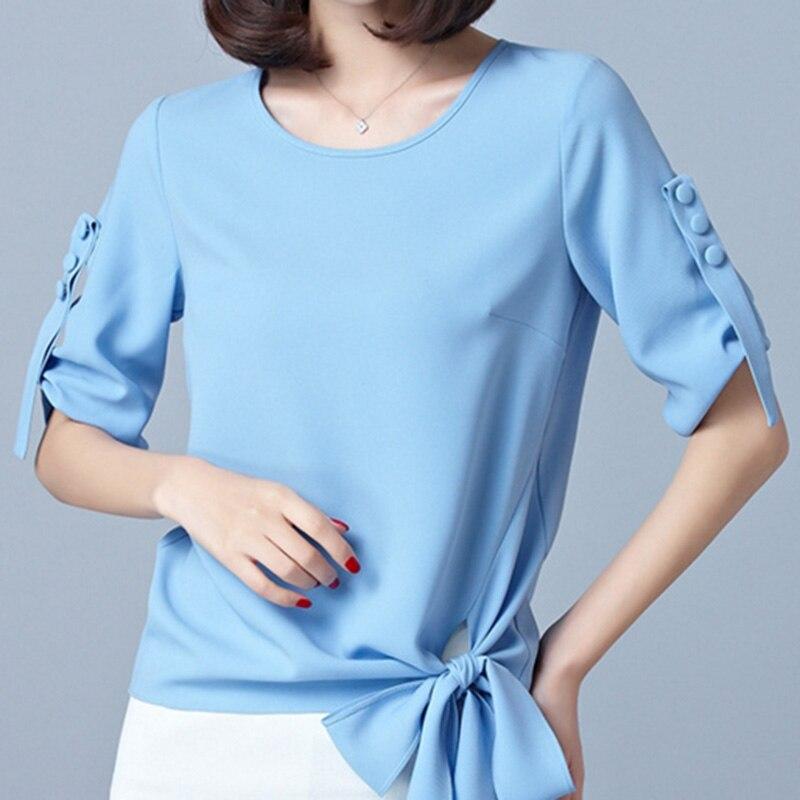Korean OL Fashion Lady Blue Shirts Plus Size S-2XL Half Sleeve Bow Decor Lap Wear 2020 Women Casual Flax Blouses