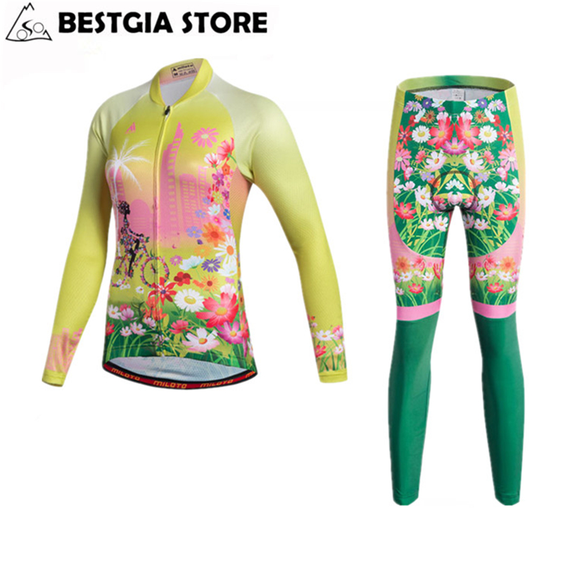 New Womens Long Sleeve Cycling Jersey Sets Anti-UV Racing Sportswear for Mtb Road Bicycle Team Bike Pants Set Cycling Clothing
