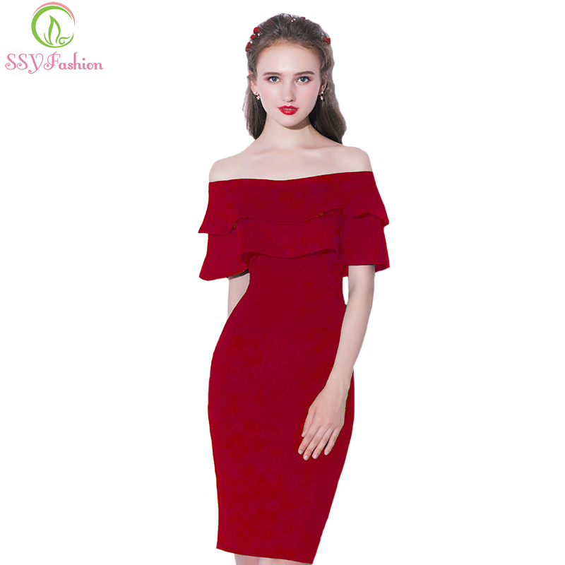 SSYFashion New Simple Short   Cocktail     Dress   The Bride Banquet Red Boat Neck Straight Sexy Slim Party Formal Gown Robe De Soiree