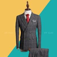 Men Đôi Ngực Phù Hợp Với Nam Giới 3 Piece Business Chuyên Nghiệp Phù Hợp Với Nam Giới Xám Sọc Ca Rô Phù Hợp Với Áo Khoác Cho Chú Rể Wedding Dress Vest Pant