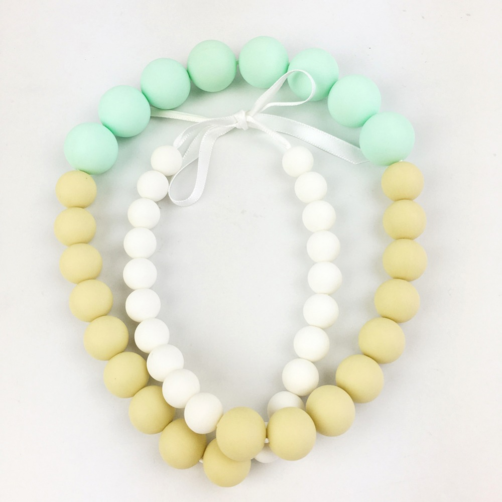 Let's make Baby Silicone Wooden Teething Necklace Bite Beads Chewable Nursing Necklace Jewelry Teether Wooden Beads Chew