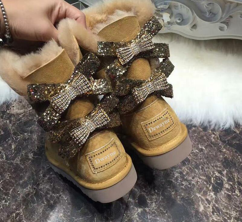2018 Australia style Women Genuine sheep Leather and real fur boots Winter Women Snow Boots two diamond bows Winter Boots