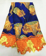 Item No.SCLW30,free shipping 100%cotton African wax fabric with embroidery lace for wedding dress