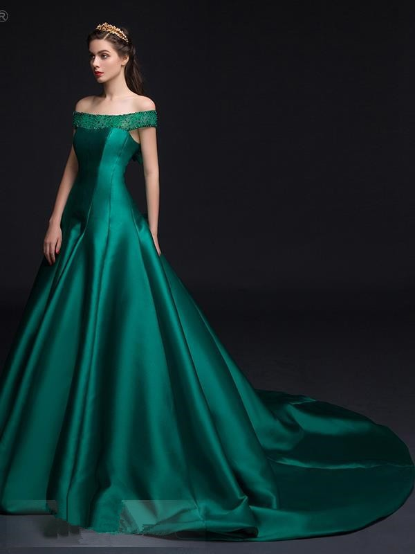 Luxury Green Boat Neck A line Beaded Long Evening Dress Off the ...