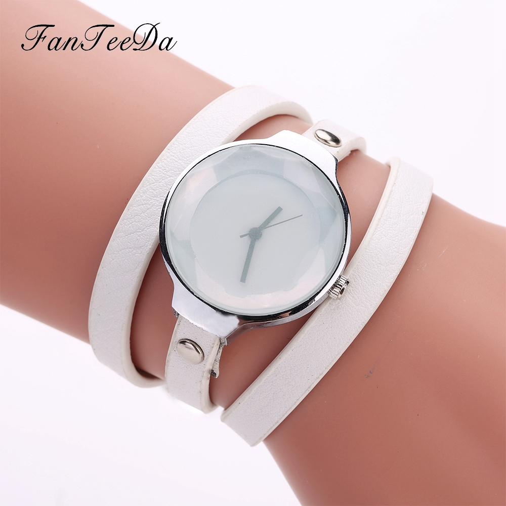 FanTeeDa Brand Ladies Dress Bracelet Watches Fashion Women Casual Leather Quartz Wrist Watch Women Luxury Silver Dial Gift Clock ...