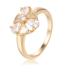 Womens Wedding Enagement Rings Size6 18K Gold Plated Clover Cubic Zirconia Triangle Leaves Flowers Fashion Jewelry