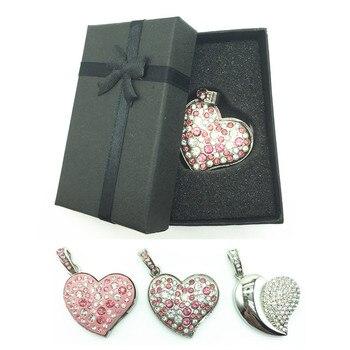 Diamond Crystal Heart 8GB 16GB 32GB 64GB Jewelry Metal USB Flash Memory Drive U Disk Necklace usb driver with a nice Gift Box