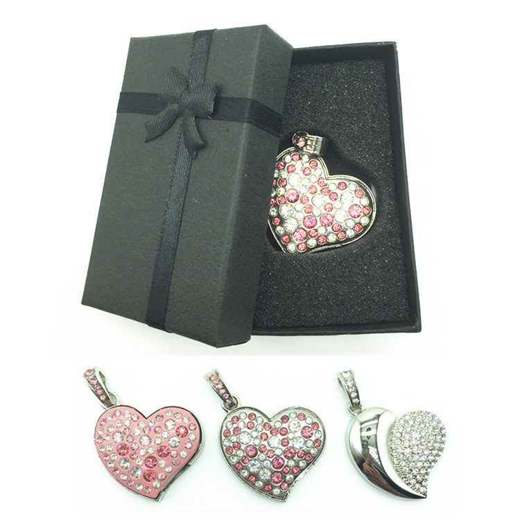 Diamond Crystal Heart 8GB 16GB 32GB 64GB Jewelry Metal USB Flash Memory Drive U Disk Necklace usb driver with a nice Gift Box
