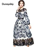 Bohemian Style Waist Europe Newest O Neck Full Sleeve Dress Flower Print Elegant Expansion Floor Length