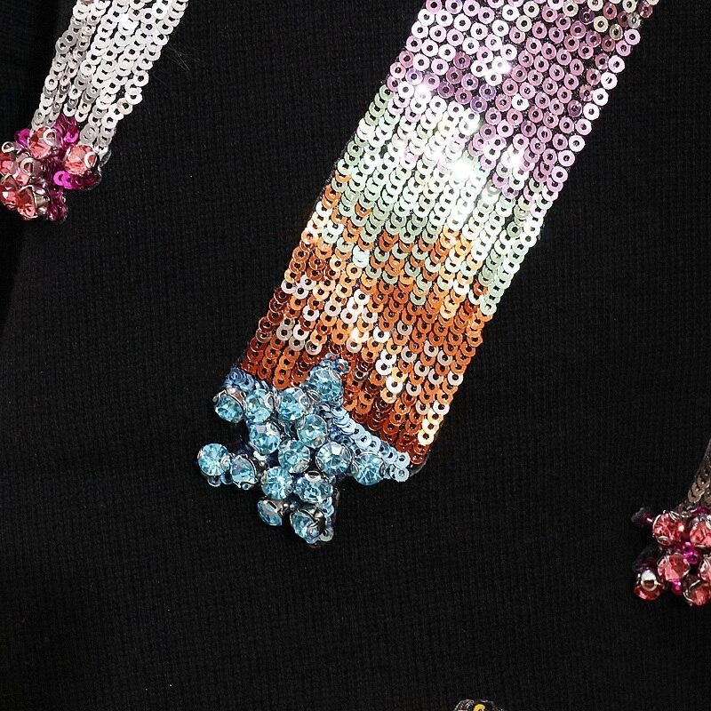 Ensembles Long Chandails gray De Pantalon Automne Costumes Hiver Paillettes Pour Tricot Nouveau Casual Les À Femmes Étudiants Black Manches Longues Mode Féminin COgqw